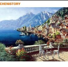 DIY Canvas oil Painting Paint By Numbers Beach Villa Kit Include Colours+brush