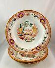 Antique Porcelain Transferware Oriental Scene Carpet Urns Rimmed Soup Bowls x3