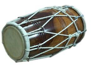 DHOLAK~ROPE+BOLT~INDIAN FOLK MUSICAL DRUM~BHAJAN~KIRTAN~DANCING~WITH TUNING KEY