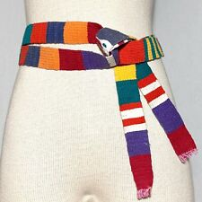 Os Vintage 90s Multi-Color Long Vegan Woven Tie Belt Hippie Fair Trade Unisex