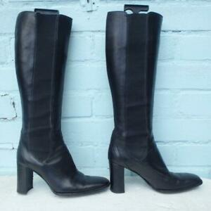 Marilyn Anselm Leather Boots UK 5.5  38.5 Womens Pull on Elasticated Black Boots