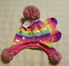 NWT Heart Lined Knit Hat and Mittens Size S 12/24 MTHS The Children's Place