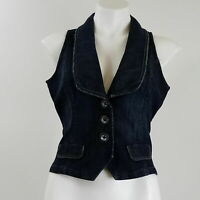 Motto Women Small Casual Denim Vest Blue Sleeveless Blazer Front Button 012V