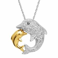 Mother's Jewel Dolphin Pendant with Diamonds in 14K Gold-Plated Sterling Silver