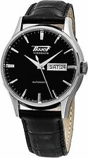 Tissot Men's Heritage VisoDate Black Dial Leather Strap Watch T0194301605101