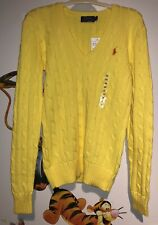 Womens Ralph Lauren Polo Cable Knit Cotton Jumper EXTRA SMALL  XS