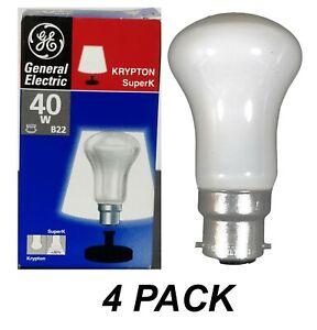 4 x 40W Incandescent Light Globes Bulbs Lamps B22 Bayonet Pearl - GE Krypton