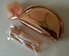 MAC Snowball Collection Mini Brush Set With Zippered Bag & 3 Brushes Rose Gold