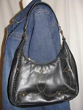 HISPANITAS Purse Black Leather Embossed Design HOBO Studded Shoulder Bag Handbag