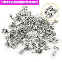 Wholesale 100/200Pcs Mixed Silver Charms Pendants For DIY Jewelry Making Craft
