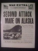 VINTAGE NEWSPAPER HEADLINE ~WORLD WAR 2 JAPANESE AIRPLANES BOMB ALASKA WWII 1942