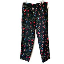 Susan Bristol NWT Floral Embroidered Crop Cotton Pants Size 14