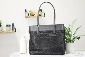 Michael Kors Morgan Large Nylon Black Leopard Print Top Zip Tote Handbag Purse