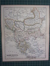 1887 ANTIQUE MAP ~ BALKAN PENINSULA GREECE CRETE TURKEY BULGARIA SERVIA