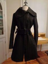 SOIA KYO wool tweed zip front coat charcoal & black herringbone women's size M