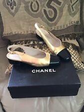 Chanel Classic Heels Slingback Mules Gold And Black 39 MINT