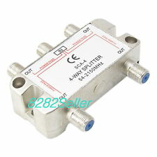 4 Way RF Splitter TV & Satellite Video 2GHz Antenna Coax 54MHz-2150MHz RG6 RG59