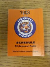 1983 Fixture Card: Baseball - Detroit Tigers (fold out style). Any faults with t