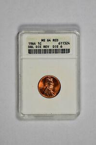 1964 1C Lincoln Memorial Cent ANACS MS 64 RED DBL DIE REV DIE 6
