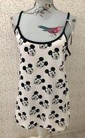 Brand New Primark Mickey Mouse Black & White Cami Pj Strappy Vest Top UK L 14-16