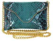 JJ Winters Syle 286 TEAL AMAZON Leather Crossbody Chain Clutch FAB!  BNWT