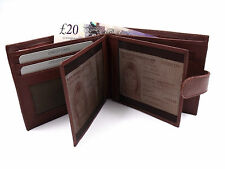 MENS NEW SOFT BROWN REAL LEATHER WALLET ID PHOTO CREDIT CARD HOLDER COIN POUCH