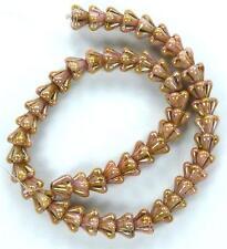 50 Czech Glass Bead Beads Baby Bell Flower Luster Opaque Rose/gold Topaz 4x6mm