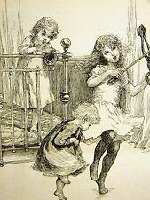 Jessie Shepherd CHILDREN PLAYING MUSICAL INSTRUMENTS 1889 Antique Print Matted
