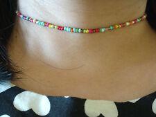 "Ajustable Rainbow Seed Beads 13 ""Collar Gargantilla Pulsera Wiccano Pagano Gótico"