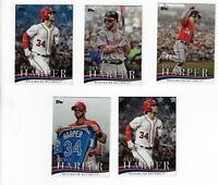BRYCE HARPER 2018 TOPPS LOT OF 5 HARPER CARDS & RUBBER FUTURE STARS BASEBALL
