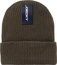 Brown Ribbed Watch Cap Beanie Knit Winter Hat  Stretch Snowmobile Ski Decky