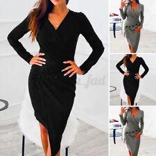 Women Long Sleeve Slim Bodycon Dresses Plus Size Casual Plain Ladies Midi Dress