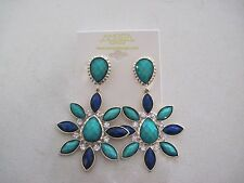 Authentic Amrita Designer Blue Sea Green Crystal Flower Pierced Earrings NEW 695