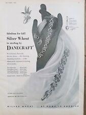 1952 Danecraft silver wheat Sterling Jewelry bracelet earring choker necklace ad