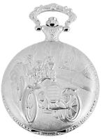 Taschenuhr Weiß Silber Auto Oldtimer Rennen Analog Quarz D-60356116916299