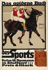 Polo Players, 1910 Vintage German Horse Racing Poster Repro Canvas Print 20x28