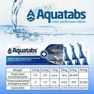 Aquatabs Water Purification Tablets Travel Camp Emergency Safe Potable Drinking