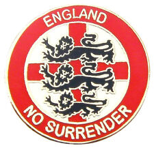 "ENGLAND BADGE ""NO SURRENDER"" (red) - England Flag, St George's Day, UK Seller"