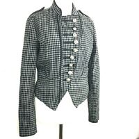 Zara Monochrome Black White Houndstooth Check Military Tailored Jacket M 8 10