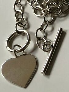 Sterling silver 925 chain necklace & hoop/t-bar fastening 14.41g & heart droplet