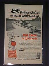 OLD~EVINRUDE FISHING BOAT OUTBOARD MOTOR ART PRINT AD~ ANTIQUE VINTAGE ORIG 1951