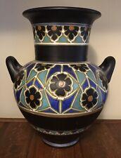 Large Vintage 1924 Holland Gouda 2 Handled Vase, J.B. Cobalt, Green, Black