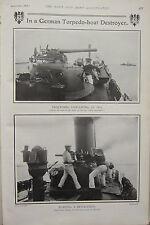 1903 BOER WAR ERA PRINT ~ GERMAN TORPEDO-BOAT DESTROYER LOADING QUICK-FIRER ~