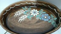 """Oval Stoneware Serving Tray Hand Painted White Blue Flowers 12"""" long 8"""" wide"""