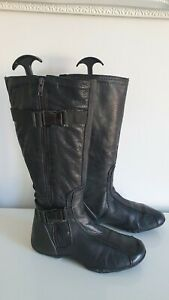 DKNY Leather Knee High Biker Boots Black UK 5.5 USA 8 EU 38 *READ*