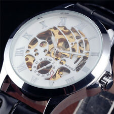 Black Leather Strap Steel Case Brand New Mens Automatic Mechanical Wrist Watch
