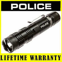 POLICE M12 78 Billion Metal Stun Gun Flashlight Rechargeable + Taser Case Black