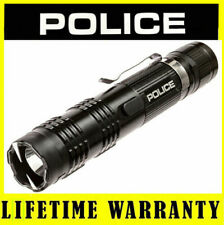 POLICE M12 78 Billion Metal Stun Gun Flashlight Rechargeable + Taser Case Black