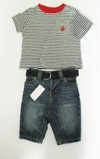 Ralph Lauren Baby Boys striped Cotton T-Shirt & Jeans Set Sz 3M - NWT