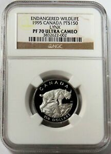 1995 PLATINUM CANADA 762 MINTED $150 ENDANGERED SERIES LYNX NGC PROOF 70 UC